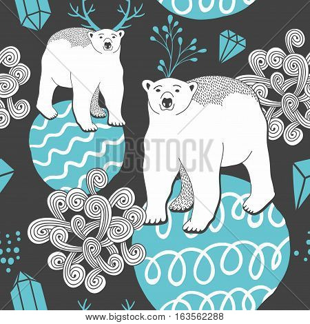 Endless background with white bear on the ice. Vector pattern.