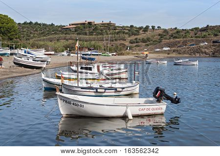 PORT LLIGAT CADAQUES, SPAIN - OCTOBER 05, 2016: The port of the Spanish mediterranean village of Port Lligat