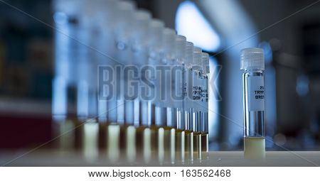 science experiment, laboratory glassware of science experiment, medical experiment at laboratory, laboratory test tubes for experiment in science research lab