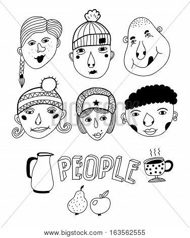 Set of doodle faces. Hand drawing vector illustration.