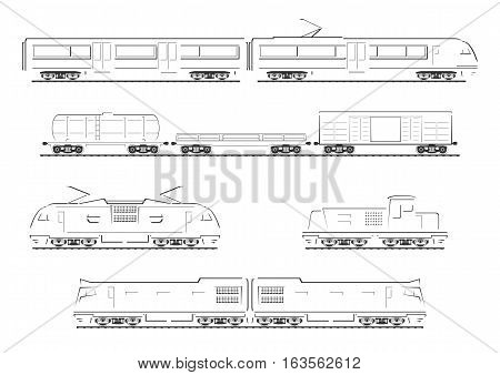 Train collection. Isolated silhouettes on white background. Vector illustration.