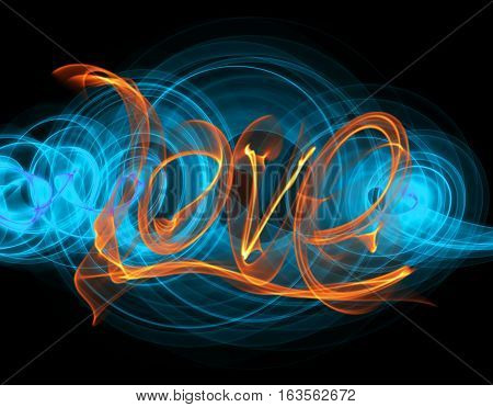 Love isolated word lettering written with fire flame or smoke on black background.