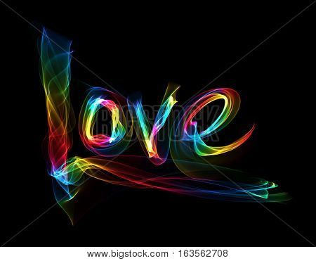 Love isolated word lettering written with rainbow fire flame or smoke on black background.
