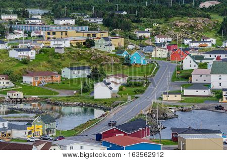 Small village community, Twillingate, Newfoundland.  Homes along shoreline in this coastal village, local roads connect the community along the Island's edges.