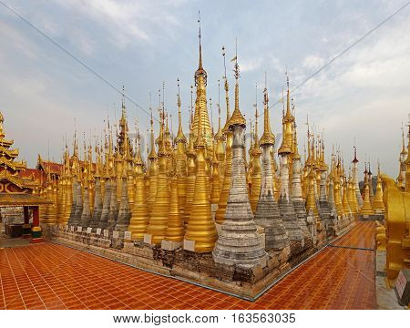Shwe Indein Pagoda, a group of Buddhist pagodas near Ywama and Inlay Lake in Shan State, Burma
