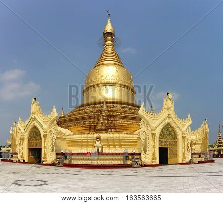 Maha Wizara Pagoda - monastery was built in 1980 to commemorate the convening of all sects of the Buddhist monastic order. Yangon, Myanmar