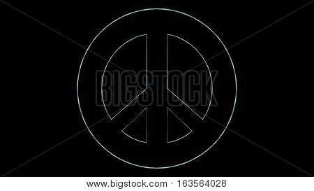 abstract multi colored peace sign symbol over black