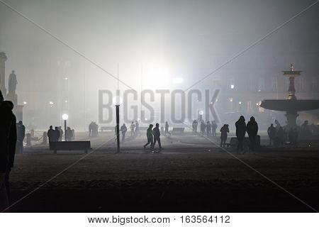 Stuttgart Fireworks Schlossplatz Smoke New Year Celebration Ominous Fog Night Spotlights Explosions