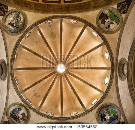 Florence Italy-June 11 2015. View of the dome of the Pazzi chapel Basilica di Santa Croce Basilica of the Holy Cross Florence Italy