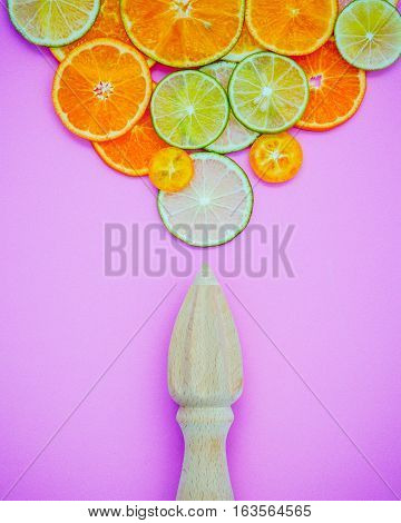 Mixed Fresh Citrus Fruits And Wooden Juicer For Summer Citrus Juice. Citrus Fruits Sliced Lime,orang