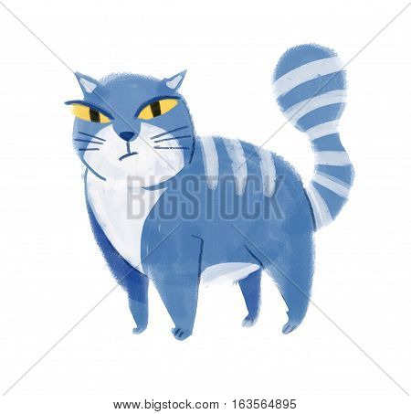 Color illustration of cat. Hand drawn. Isolated on white background