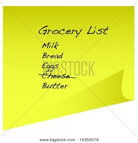 shopping or grocery list on yellow sticky  note