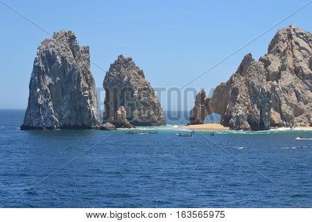 The famous arch in Cabo San Lucas with the beautiful natural rock formations