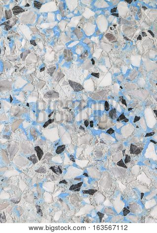 Stone wall texture Terrazzo Marble surface floor pattern and blue color for background