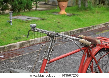 bicycle red classic vintage in former beautiful with copy space for add text