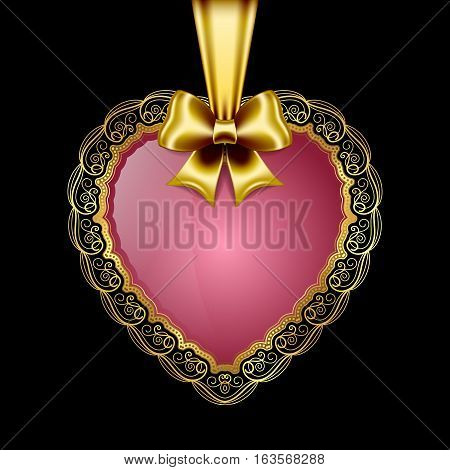 Heart-shaped golden frame with lace border and silk bow. Valentines Day greeting card. Vector illustration