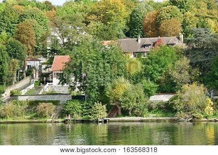 Triel sur Seine France - october 17 2016 : the Seine riverside