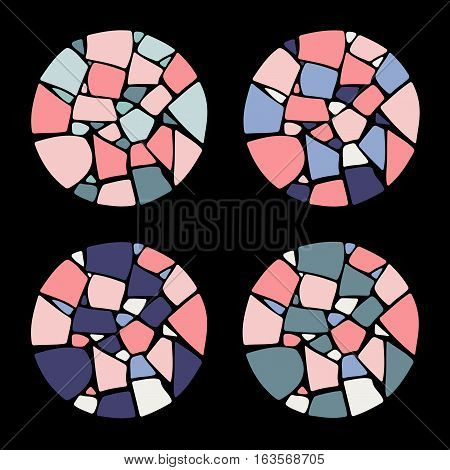 Set of Mosaic design elements in circle forms. Ceramic tile texture.