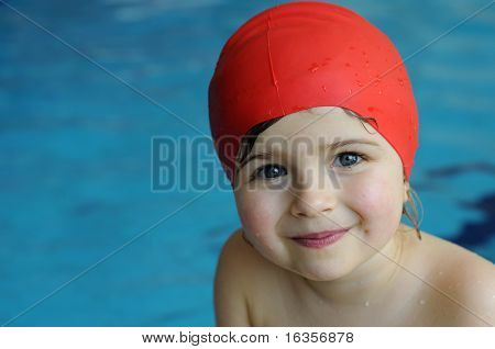 Little girl on swimming pool poster