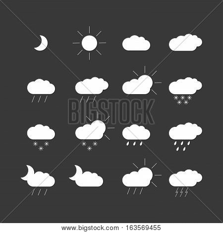 set with different weather icons. Black and white