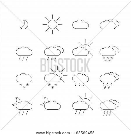 Set with different weather icons. In black and white color