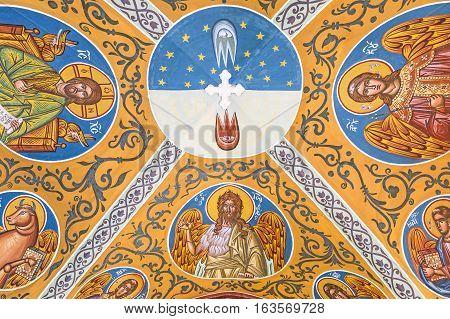 Kykkos Greece - November 24 2016: Cyprus island detail of the sacred paintings of the Kykkos monastery entry