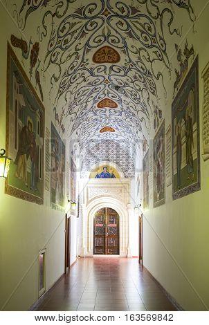 Kykkos Greece - November 24 2016: Cyprus island the sacred paintings and decorations of the Kykkos monastery