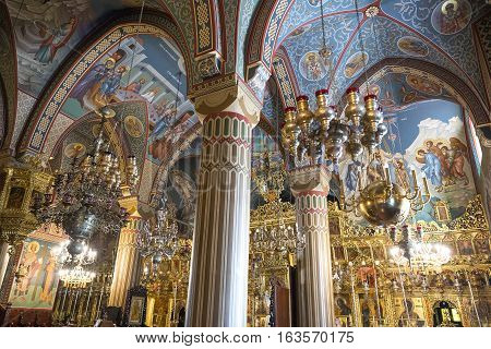 Kykkos Greece - November 24 2016: Cyprus island decorations and sacred paintings in the church of the Kykkos monastery