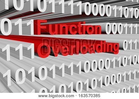 Function overloading in the form of binary code, 3D illustration