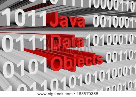 Java Data Objects in a binary code 3D illustration