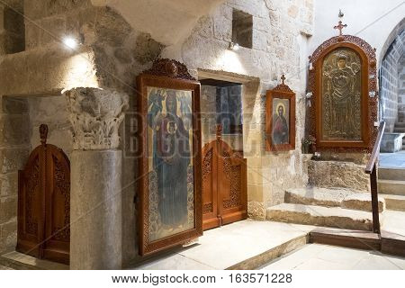 Aya Napa Greece - November 26 2016: Cyprus island the church of the Monastery (14th century)