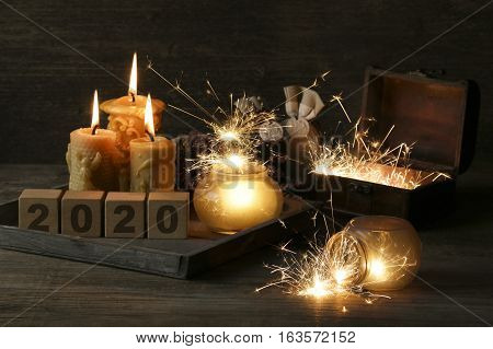 2020 written on cubes on wooden background