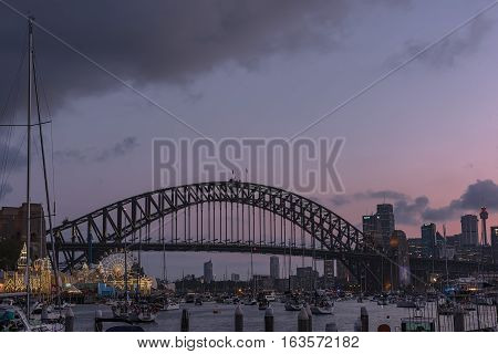 Sydney Harbour Bridge Sydney Australia at sunset.JAN 01,2017 The Sydney Harbour Bridge is a steel through arch bridge across Sydney Harbour to the North Shore.
