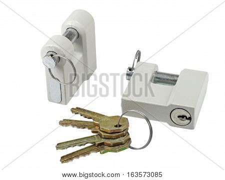 Two New close metal padlocks with keys isolated on white background