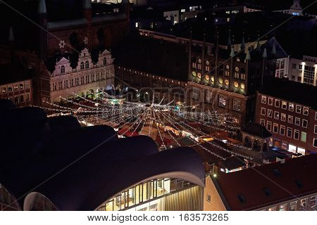 Aerial view of Lübeck christmas market in Germany at night