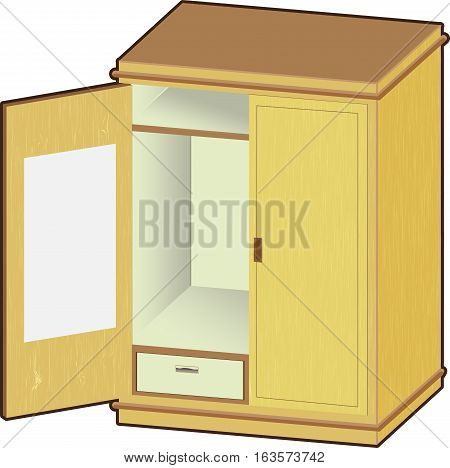 Open wardrobe. wooden closet with tidy clothes - Vector Illustration