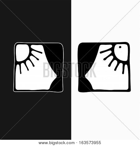 open 24 hours a day vector logo. Day and night black - white illustration