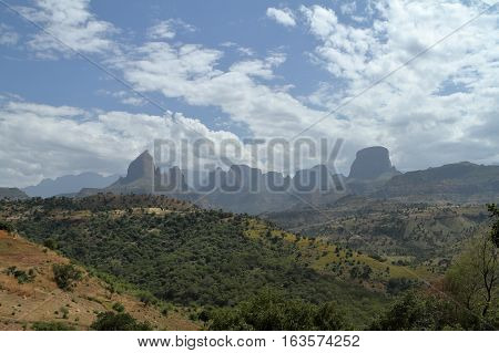 The landscape of the Simien mountains in Ethiopia