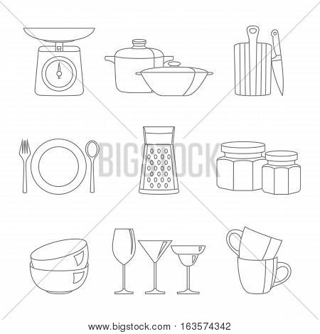 Kitchenware flat design line icons vector set