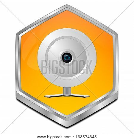 orange Button with Webcam - 3D illustration