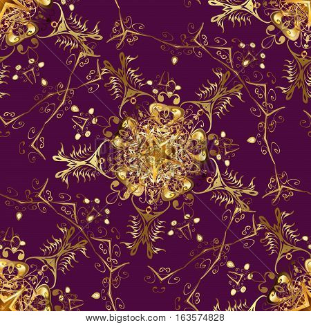 Seamless vintage pattern on lilac background with golden elements. Snowflake Christmas New Year. Raster.