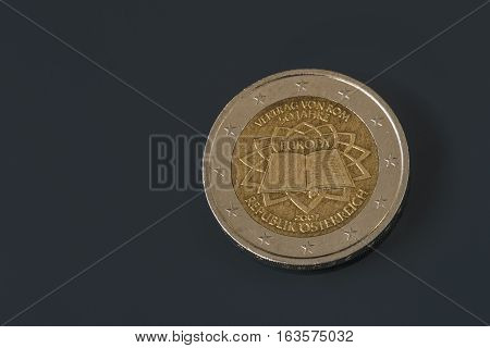 Commemorative 2 Eur Coin, 50Th Anniversary Treaty Of Rome, Issued By Austria