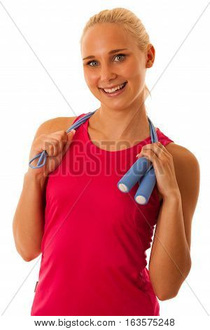 Fit Woman Work Out With Speed Rope  Isolated Over White