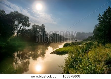 Moon Light At Night Over River