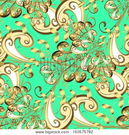 Golden leaf lace on green background. This image is a raster illustration.