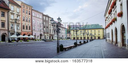 Panorama of little market square (Maly Rynek) in Krakow Poland
