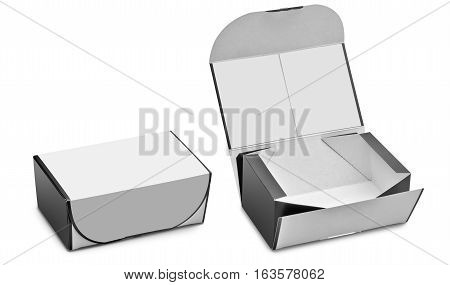 Open and closed blank box. Ready to use in your designs (clipping path )
