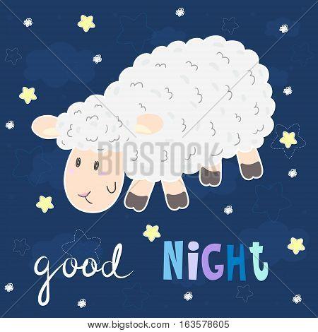 Good night card. Cute hand drawn sheep in cartoon style. vector print.