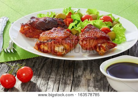 Grilled Chicken Thighs With Green Fresh Salad