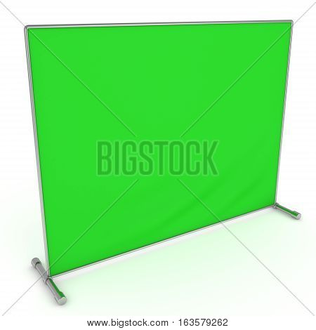 Billet press wall with green screen chroma key banner. Mobile trade show booth white and blank. 3d render isolated on white background. High Resolution Template for your design.